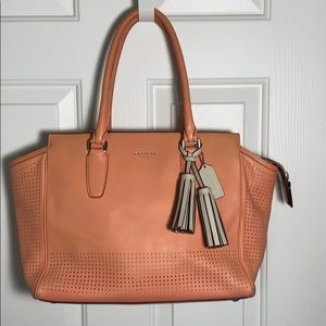 Coach Leather Legacy Tote Bag in Coral